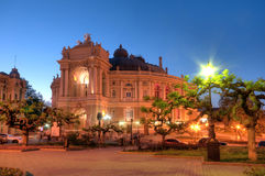 Old Opera Theatre Building in Odessa Ukraine night Royalty Free Stock Image