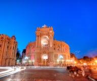 Old Opera Theatre Building in Odessa Ukraine night Stock Image
