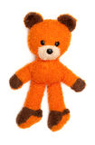 Old orange bear toy isolated on white Royalty Free Stock Images