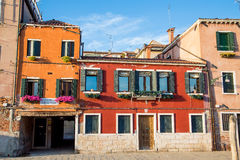 Old Orange Buildings in Venice Royalty Free Stock Photos