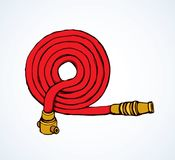 Fire hose. Vector drawing. Old orange cotton pour attack pipeline firehose gear on white backdrop. Bright red ink hand drawn 911 save risk object concept emblem Stock Photography