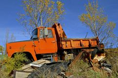 Old orange county dump truck Stock Images