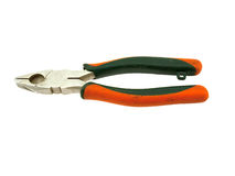Old orange flat-nose pliers Stock Photography