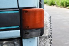 Old orange headlight used for a long time Royalty Free Stock Image