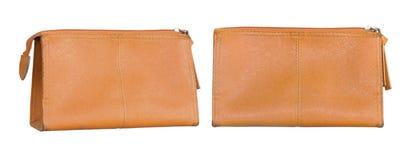 Old orange pencil case isolated on white background.  Royalty Free Stock Images