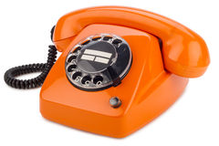 Orange retro phone Royalty Free Stock Photos