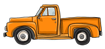 Old orange pickup truck  art illustration Stock Photos
