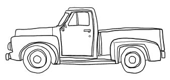 Old orange pickup truck line art  art illustration Stock Photo