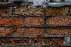 Old Orange and red Damaged Brick Wall royalty free stock images