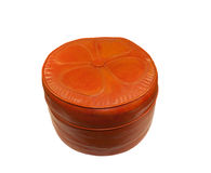 Old orange retro leather Hassock Royalty Free Stock Photo
