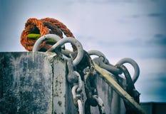 Old orange rope Stock Photo