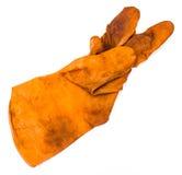 Old Orange rubber gloves Royalty Free Stock Images