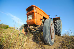 Old orange tractor Royalty Free Stock Image