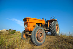 Old orange tractor Stock Image