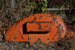 Old orange tractor fender Royalty Free Stock Photography