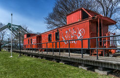 Old orange train Stock Photos