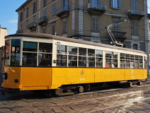Old orange tram Royalty Free Stock Images