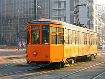 Old orange tram in Milan Stock Photos