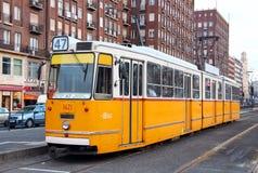 Old orange tram on the street of Budapest Royalty Free Stock Image