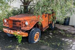Old Orange truck royalty free stock images