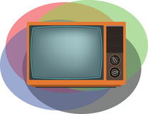 Old orange TV screen. Royalty Free Stock Image