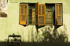 Old wood orange shutters Royalty Free Stock Photos