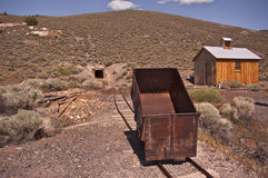Old Ore Cart. And entrance to the old Diana Mine at Berlin, Nevada, an old ghost town outside of Reno in Berlin, Ichthyosaur State Park stock images