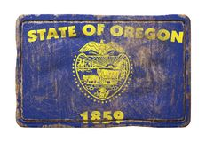 Old Oregon State flag. 3d rendering of a Oregon State flag over a rusty metallic plate. Isolated on white background Royalty Free Stock Photos