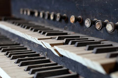 Old organ. Old, dusty ruins of a church organ stock photography