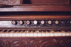 Old Organ Piano Black and White Keys Vintage Wood Rustic Stock Image