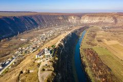Old Orhei Orheiul Vechi village in Republic of Moldova. Aerial view of Old Orhei and Butuceni village shot using a high resolution drone royalty free stock image