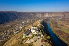 Old Orhei Orheiul Vechi village in Republic of Moldova. Aerial view of Old Orhei and Butuceni village shot using a high resolution drone stock image
