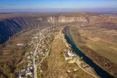 The Old Orhey valley with the moldavian traditional village and orthodox monastery. Aerial view of Old Orhei and Butuceni village shot using a high resolution stock images