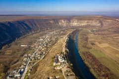 The Old Orhey valley with the moldavian traditional village and orthodox monastery. Aerial view of Old Orhei and Butuceni village shot using a high resolution royalty free stock images