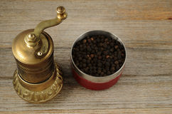 Old oriental pepper mill and black pepper peas Royalty Free Stock Photos