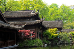 Old oriental structures with garden and fish pond Royalty Free Stock Images