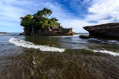 Old oriental temple, Tanah Lot, Bali, Indonesia. Royalty Free Stock Image