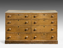 Old original vintage wooden pine painted bureau, chest of drawer Royalty Free Stock Images