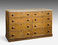 Old original vintage wooden pine painted bureau, chest of drawer Stock Images