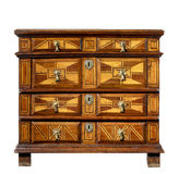 Old original vintage wooden trunk or dresser chest of drawers Stock Photos