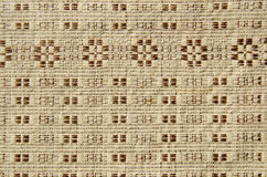Old and ornamental linen tablecloth background Stock Photos