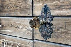 Old, ornate brass key. Royalty Free Stock Photo