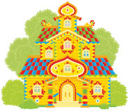 Old ornate tower. Vector illustration of a colorfully decorated wood tower-room from fairy tale Stock Photography