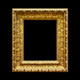 Old ornate wooden frame isolated on black Royalty Free Stock Images
