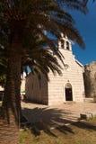 Old orthodox basilica and bid palm tree growing Royalty Free Stock Image