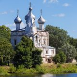 Old Orthodox Church on the banks of the river in Russia. Stock Photography