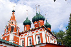 Old orthodox church. Blue sky with clouds. Royalty Free Stock Photo