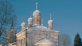 Old orthodox church in the country. Winter day. stock footage