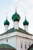 Old orthodox church with green cupolas Royalty Free Stock Photos