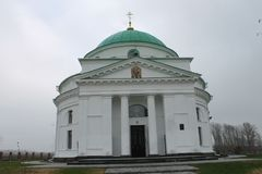 Old Orthodox Church of St. Nicholas on grey cloudy sky. royalty free stock photography